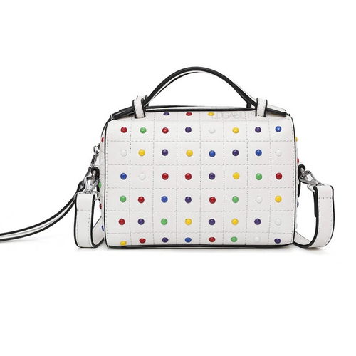 studded bag in white edgability