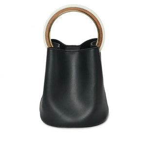 black bag bucket bag luxury bag wristlet edgability front view
