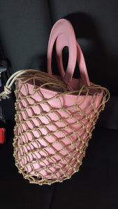 bucket bag basket drawstring bag pink bag edgability side view