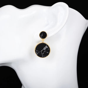 black marble print drop earrings size view edgability