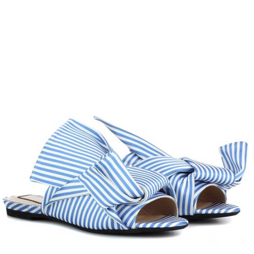 stripes blue flats with knots front view