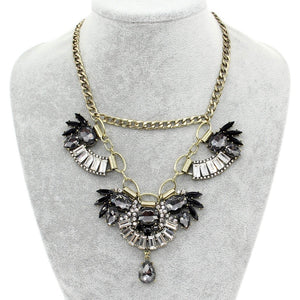 floral necklace crystal statement necklace edgability model view