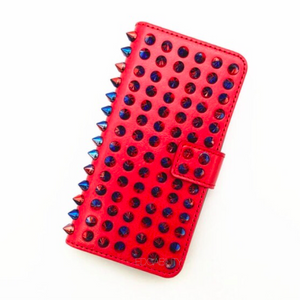 multicoloured studded iphone cover in red edgability