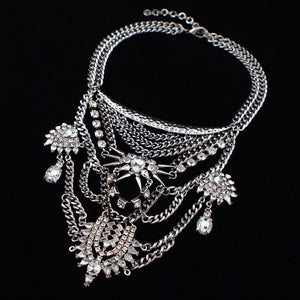 layered necklace statement necklace silver jewellery edgability angle view