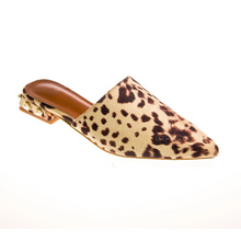 animal print faux fur mules with pearls edgability angle view