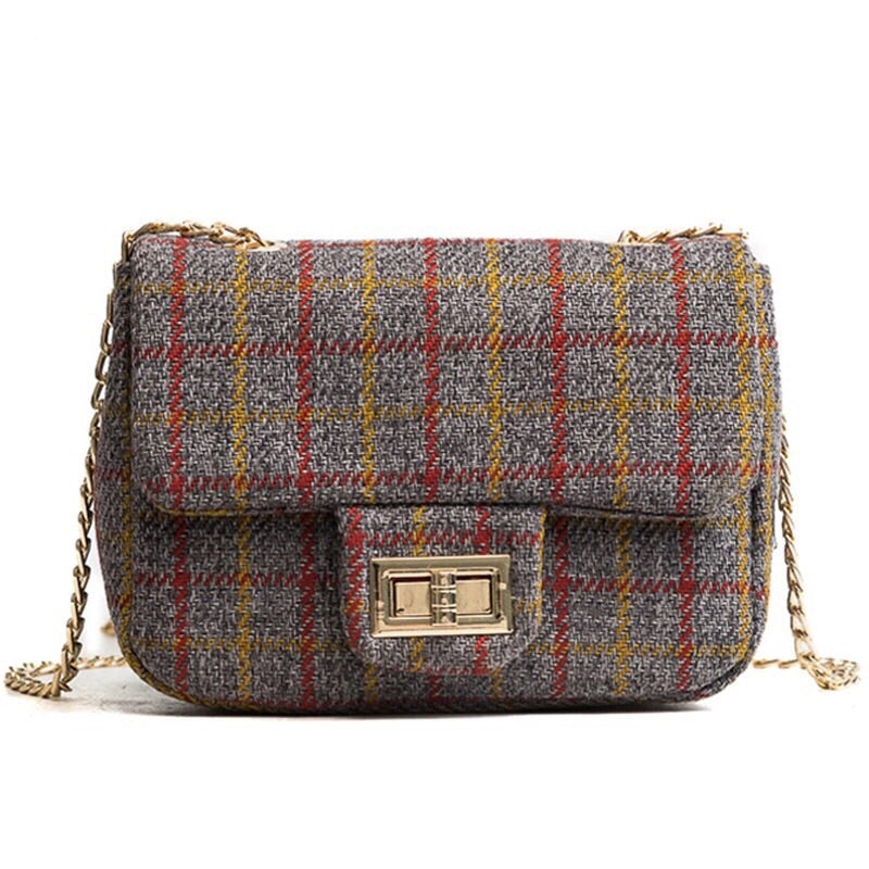 grey plaid purse edgability mini bag