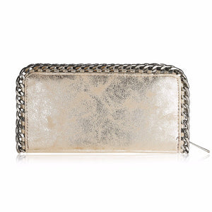 gold wallet metallic wallet with chain edgability