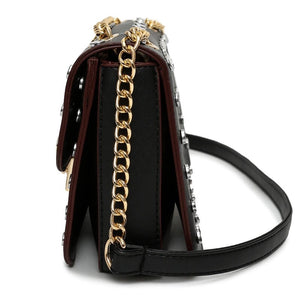 silver gold studded bag black bag edgability side view