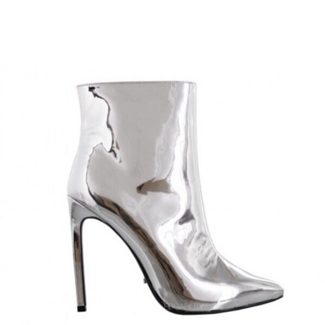 silver boots ankle boots edgability