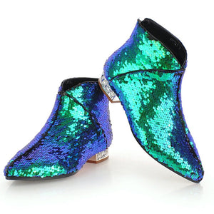 metallic blue green sequins ankle boots edgability full view