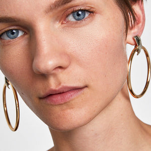 rose gold hoops statement earrings edgability model view