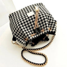 houndstooth drawstring bag with pearls on chain top view edgability