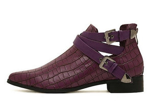 flat croc skin ankle boots edgability side view