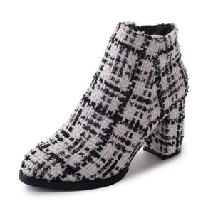 white and black boots tweed boots ankle boots edgability
