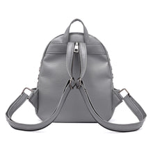 silver studded grey mini backpack edgability back view