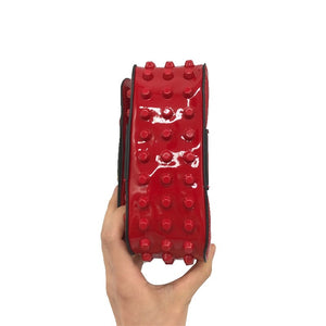 studded bag red sling bag edgability side view