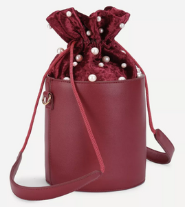 pearl studded bucket bag edgability front view