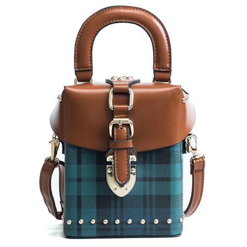 plaid studded bag box bag edgability