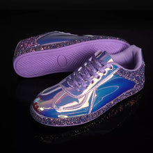 chrome metallic sneakers purple glitter trainers edgability angle view
