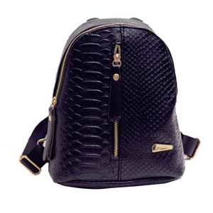 black mini backpack croc skin bag edgability front view