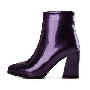 patent leather boots metallic boots ankle boots edgability