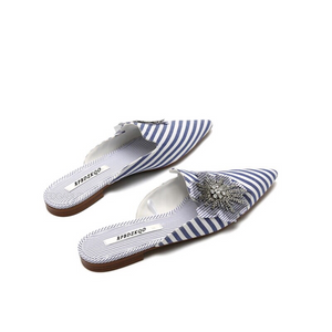 striped blue mules crystal flower top view edgability