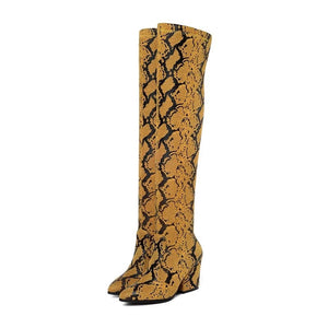 tan brown knee high snakeskin boots edgability full view