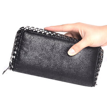 black wallet metallic wallet with chain edgability model view
