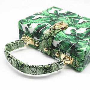 travel bag box bag tropical print edgability back view