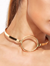 minimalistic gold choker necklace with hoop angle view Edgability