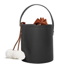 pom pom black bucket bag edgability