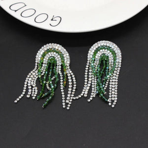 emerald green silver crystals statement earrings edgability top view