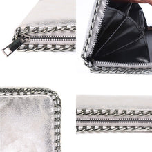 silver wallet metallic wallet with chain edgability detail view