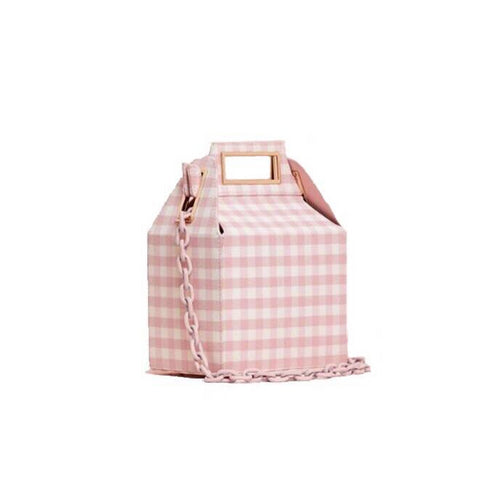 box bag checkered bag sling bag pink bag edgability
