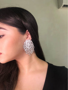 statement earrings crystal earrings chic jewelry edgability model view