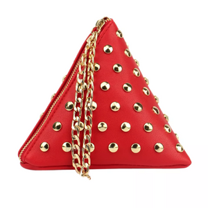 red triangle bag studded bag edgability