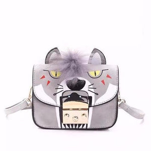 animated print grey hand bag with fur strip edgability
