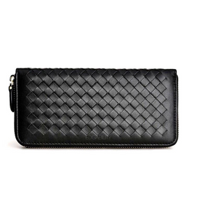 black wallet basket weave trendy wallet edgability front view