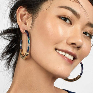 statement jewelry marble earrings hoop earrings edgability model view