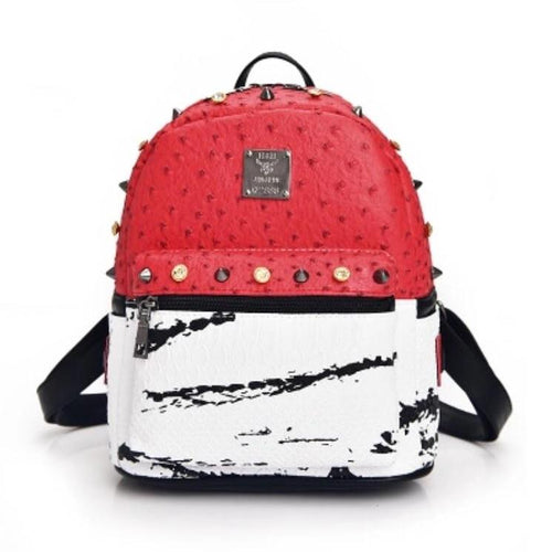 marble red backpack studded bag edgability