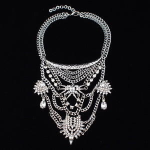 layered necklace statement necklace silver jewellery edgability front view