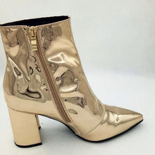 gold booties metallic boots ankle boots edgability side view