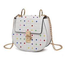 multicoloured studded bag classy bag edgability angle view