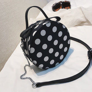 box bag round bag polka dots bag edgability top view