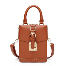 brown box bag with buckle egdability