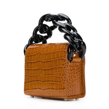 sling bag brown bag croc skin bag with chain edgability back view