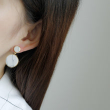 marble earrings gold earrings statement jewelry edgability model view