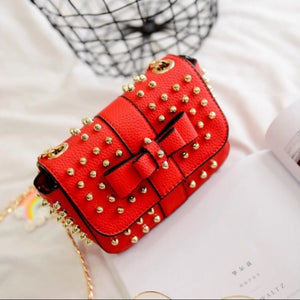 studded bag party bag red bag edgability top view