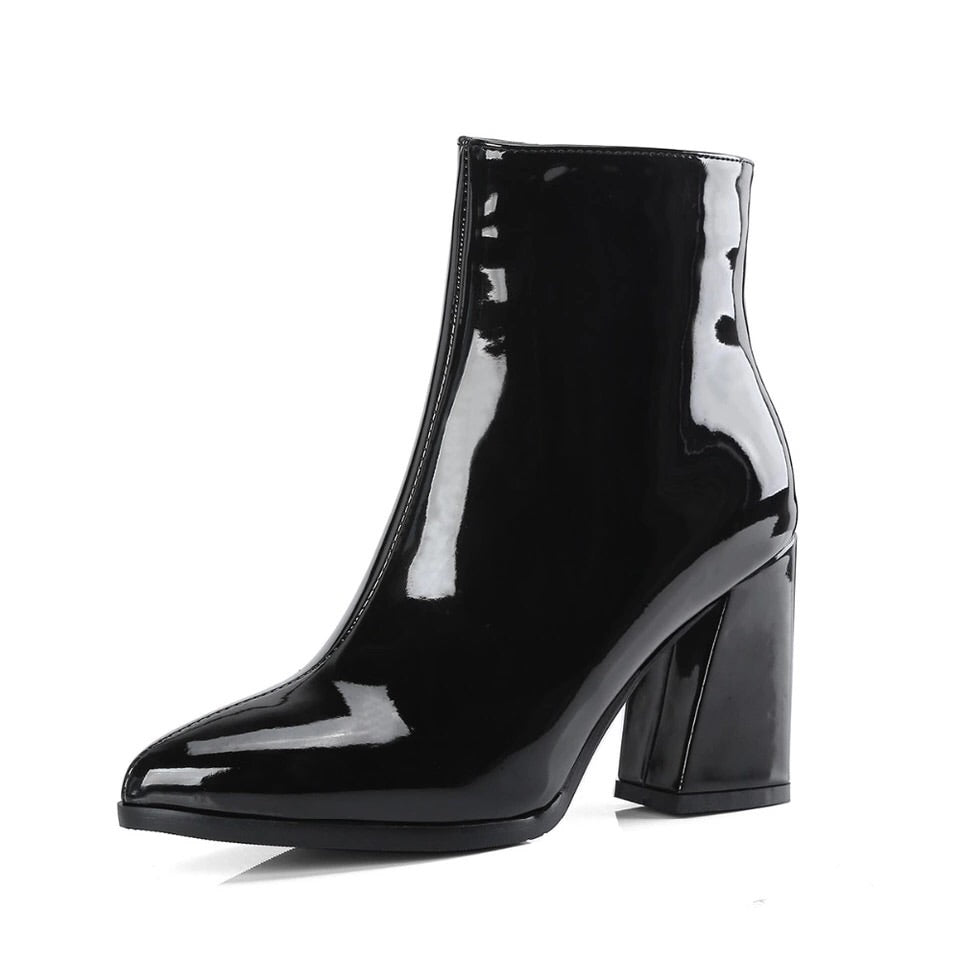 patent leather boots black boots ankle boots edgability