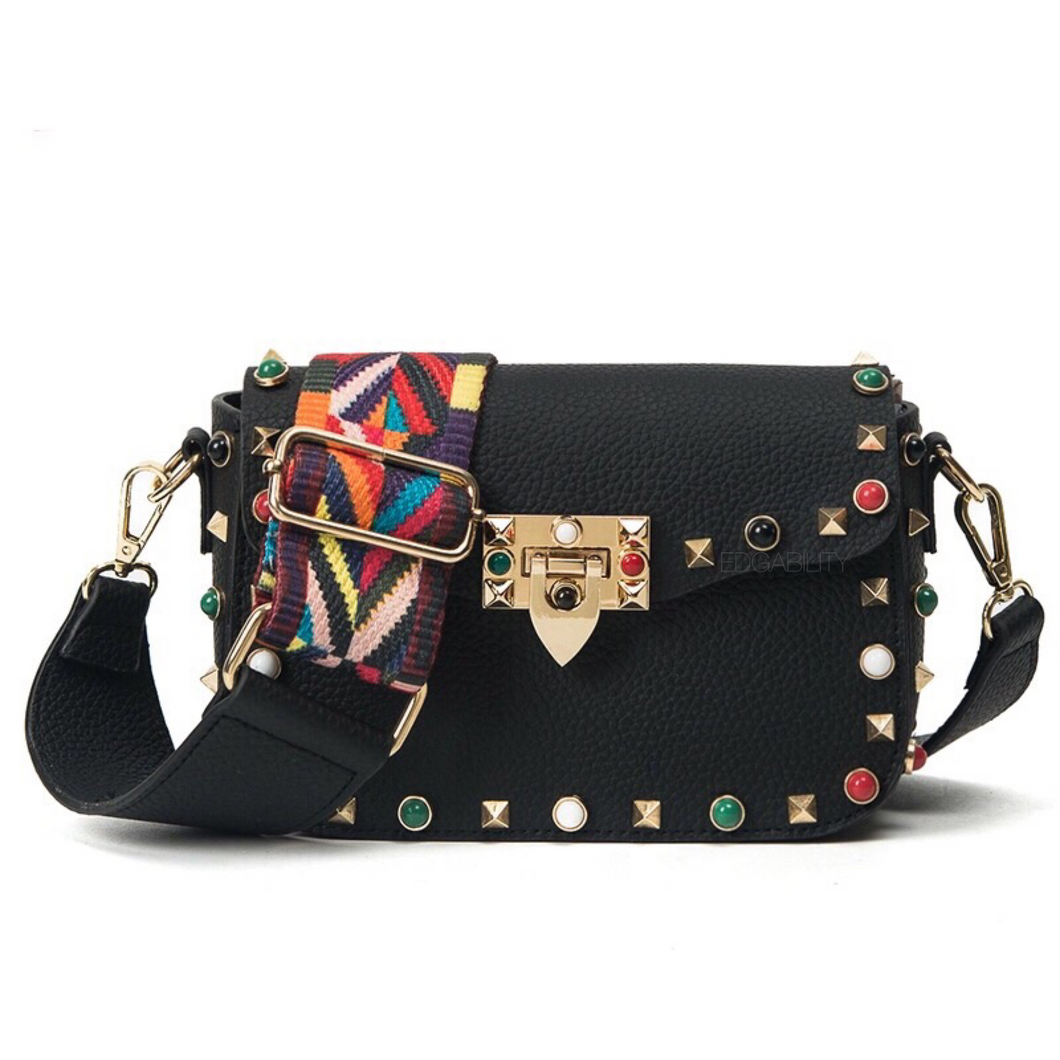 multi coloured studded black bag front view edgability